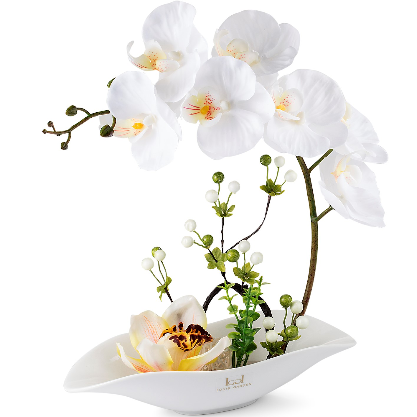 Louis Garden Artificial Silk Flowers Orchid Phalaenopsis Bonsai (Simulation of Water) (White)