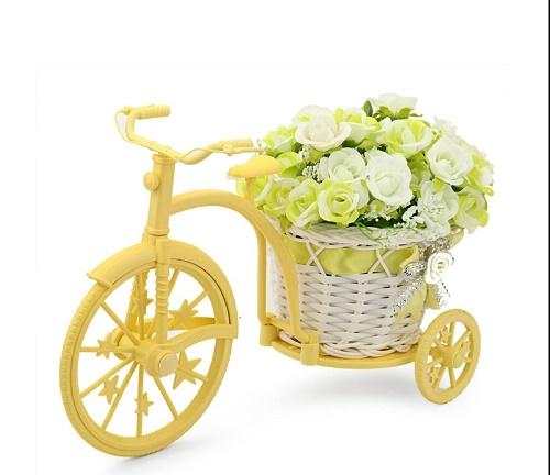 Louis Garden Nostalgic Bicycle Artificial Flower Decor Plant Stand (White-Green)